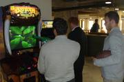 Target Plaza Commons has a collection of new and vintage arcade games for corporate employees to unwind, including Pac-Man, ping-pong, darts, bubble hockey and a hunting game called Big Buck World (shown here).