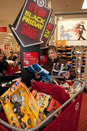 Michelle Gianelli shopping at Target's Roseville store on Thanksgiving.