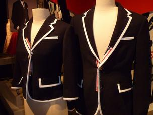 Thom Browne: Men's blazer, $149.99, and women's blazer, $129.99