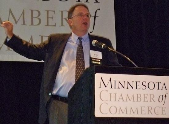 Todd Rapp, of Himle Rapp & Co., presenting the results of the Minnesota Business Barometer Survey.