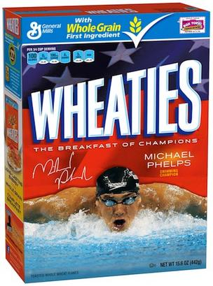 General Mills' Wheaties box is just one of Phelps' many partnerships.