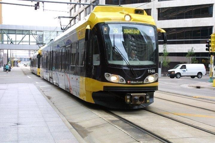 A light rail car in downtown Minneapolis