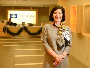 Stacy Enxing Seng, co-founder of ev3,  is now president of Covidien's vascular therapies business. At left, images of the Pipeline and Solitaire vascular products sold by the company.