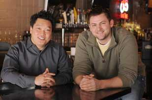 Gene Suh, left, the owner and CEO of Lyndale Tap House, with Chief Operating Officer Phil Immerman. They're seeking 'second-generation' restaurant space in several neighborhoods.