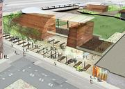 A rendering of the proposed St. Paul Saints stadium in Lowertown