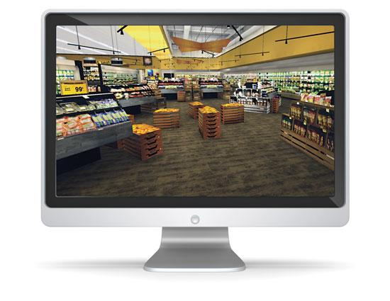 InContext creates a virtual store to test product displays. Users interact with them as if in a video game.