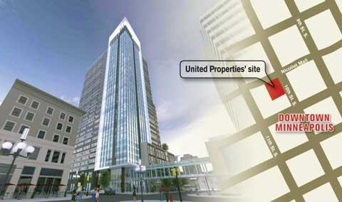 Elness Swenson Graham Architects Inc. created this rendering for United Properties, which is marketing the tower to big downtown Minneapolis tenants such as Target, Piper Jaffray.