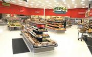 The flooring in updated SuperTarget grocery sections are changed to white tile to match the rest of the store.