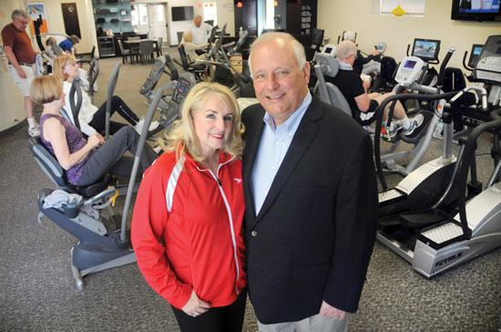 Welcyon co-founders Suzy Boerboom (left) and her husband, Tom, stand at their flagship fitness club in Edina. Welcyon's gyms are designed to appeal to seniors.