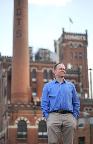 Chad Blihovde of Java Properties is marketing restaurant and office space in the former Schmidt Brewery complex.