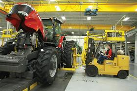 An AGCO tractor on the production line.