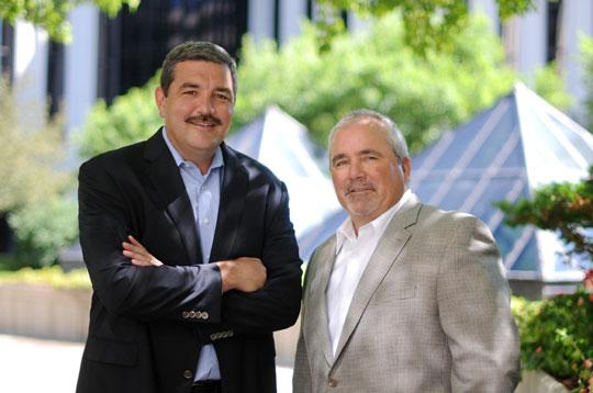 Nancy Kuehn | Minneapolis/St. Paul Business Journal  Avtex Chief Strategy Officer Keith Rachey, left, and President Bob Denman believe a key growth opportunity for the IT firm will come from developing and marketing its own products.