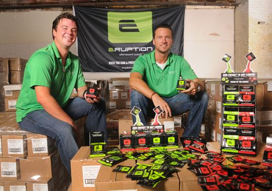 Joshua Shirk (left) and Brian Christensen, founders of Eruption Efferevescent Energy, boosted sales of their company's energy drink powder through guerilla marketing and by targeting convenience stores.