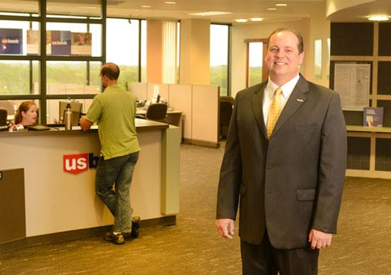 Dan Hoke, on-site banking division manager for U.S. Bank, at a branch at Thomson Reuters' campus in Eagan. The bank now has 82 on-site locations at schools, hospitals, airports and offices.