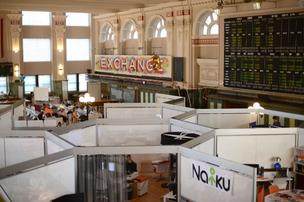 Several tech entrepreneurs use the CoCo co-working space on the former Grain Exchange trading floor.