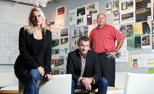 From left, Chief Marketing Officer Laura Terry, CEO and Chief Creative Officer Tom Moudry and  Tim Frojd, chairman and CFO, are leading Martin|Williams Advertising's growing team.