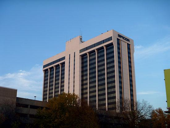 Metropoint's biggest building, this 20-story tower, overlooks General Mills' campus.