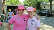 Barb Obarski and Laura Magnuson spend a day working on a Habitat for Humanity project.