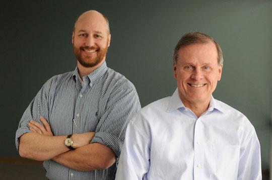 OptiMine Software Co-Founder Robert Cooley, left, and CEO Jim Moar, are focused on marketing after raising venture capital.