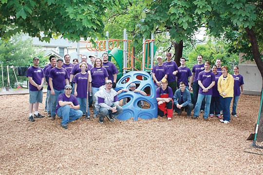 GE volunteers built two playgrounds, this one at a CommonBond Communities apartment building in Minneapolis, as part of GE Global Community Days.