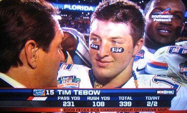 Tim Tebow being interviewed after helping win the 2009 NCAA football championship for the University of Florida.