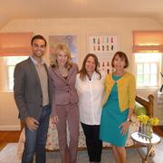 Designers Christopher Patrick, Nancy Twomey and Susan Nelson flank Fox 5's Holly Morris, second from left, during the April 13 taping of the Morning Show at the D.C. Design House. The room featured is by Nelson.