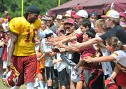 Heisman Trophy winner and Baylor quarterback Robert Griffin III, the second-overall pick in the NFL draft, made his debut at Redskins training camp on July 26, 2012. Griffin, who brought the Redskins to a playoff berth in their first year only to get injured in that game in January, on Monday tweeted that his doctors cleared him to practice.
