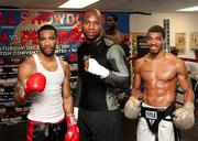 Number-one rated super lightweight contender Lamont Peterson, from left,  undefeated heavyweight contender Seth Mitchell and lightweight  contender Anthony Peterson posed on Nov. 15, 2011, during a media workout in  preparation for their Dec. 10 fights.See more photos from the Nov. 18, 2011 edition of The Back Page Extra.