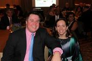The Greater Reston Chamber of Commerce celebrated its 30th anniversary  on Dec. 1 at the Sheraton Reston Hotel. Todd Rhoden of the Washington Business Journal and Jennifer Dalton of Vaughn  Advisors.