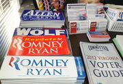 """Bumper stickers and campaign brochures in the """"GOP Victory Office"""" in Leesburg's 10th District."""