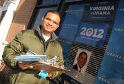 Volunteer Manish Paliwal prepares to campaign for Obama in Leesburg the morning before the election.