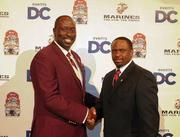 Events for the AT&T Nation's Football Classic began Aug. 30 with the Presidential Symposium at Howard University. Morehouse College President Robert Franklin and Howard University President Sidney Ribeau hosted the event. Morehouse College head coach Rich Freeman, left, with Howard University head coach Gary Harrell at the Paul Robeson welcome dinner on Aug. 30 at the JW Marriott in D.C.