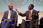 Events for the AT&T Nation's Football Classic began Aug. 30 with the Presidential Symposium at Howard University. Morehouse College President Robert Franklin and Howard University President Sidney Ribeau hosted the event. Albert Sanders Jr., left, and Lorenzo Morris.
