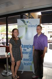 """Friends and supporters of Active Minds, a group dedicated to changing the perception of mental health, gathered together Aug. 15 at Cities for its """"Cocktails for a Cause"""" event. Emily Dreckshane and Drew Walter, both of Active Minds."""