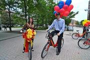 The Ballston BID, led by CEO Tina Leone, left, helped promote the Capital Bikeshare program's new station near the Ballston Metro on May 7.