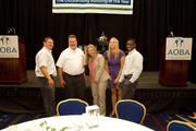The Apartment and Office Building Association of Metropolitan Washington celebrated its annual TOBY (The Outstanding  Building of the Year) Awards program on June 15 at the Marriott Wardman  Park, with more than 250 members in attendance. The Akridge team, including, from left, Nate Aviles, Phil Lawrence, Betsy Bennett, Carly Boyce and Daniel Kwatchey, joke around following their TOBY win.