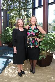 Beverly Morton Billand, owner of The Restaurant at Patowmack Farm in Lovettsville, left, here with Reston Limousine CEO Kristina Bouweiri, founder of Sterling Women, shared the story of how she grew an organic farm into a multi-faced culinary enterprise at Sterling Women's monthly networking luncheon on Oct. 11.