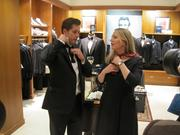 In preparation for the inauguration, Brooks Brothers hosted a cocktail reception/instructional bow-tie tying session Jan. 10 at its Connecticut Avenue store. The clothier knows a thing or two about presidents and ties — it has outfitted 39 U.S. presidents, including Presidents Obama, Kennedy and even Abraham Lincoln himself. Kris Van Cleave of ABC7 gets a lesson from Brooks Brothers historian Kelly Nickel as Honest Abe looks down in approval.