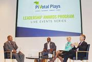 Sports, community and business mixed yet again Nov. 27 during the  Pivotal Plays Awards, held at USA Today's Gannett Center. From left, Chick Hernandez of Comcast Sports Net and NBC Sports, London Fletcher of the Washington Redskins, Catherine Meloy of Goodwill of Greater Washington and Tom Davidson of EverFi.