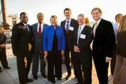 Law firm Quarles & Brady hosted an office-warming reception for clients, friends and officials Sept. 12 to show their new K Street NW offices, which opened last spring. Joining in the event were, from left, Lonnie Johnson of Exxon Mobil, John Daniels Jr. of Quarles, Secretary of Homeland Security Janet Napolitano, and Isaac Gabriell, Fred Lautz and Brad Vynalek, all of Quarles.