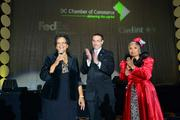 The recipient of the evening's Lifetime Legacy Award, Charlene Drew Jarvis, left, with D.C. Mayor Vincent Gray and D.C. Chamber CEO Barbara Lang at the Chamber's Choice Awards Gala, held Oct. 27 at the Marriott Wardman Park.