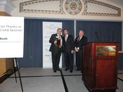 The Arlington Chamber of Commerce held its 88th Annual Meeting at the  Sheraton Pentagon City Hotel on Dec. 14. From left, chamber treasurer Chris Domes accepts the Chair's Award on behalf of Marymount University.