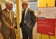 """Qorvis Communications celebrated the publication of """"Red Ink: Inside the  High Stakes Politics of the Federal Budget,"""" by David Wessel, economics  editor of The Wall Street Journal, during a reception Aug. 2 at its  D.C. offices. Wessel, right, with a guest."""