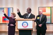 The Montgomery County Chamber of Commerce held its Annual Business Awards Dinner on Dec. 5 at the Bethesda North Marriott Hotel and Conference Center. The event recognizes leaders in the business and public sector community for their accomplishments over the last year. From left, Gigi Godwin of the Montgomery County Chamber of Commerce, Montgomery County Executive Isiah Leggett and Ori Reiss of GlobalNet Services Inc.