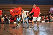 Washington Capitals alumni and mascot Slapshot visited Matthew Henson Middle School in Indian Head, Md., on Sept. 19 for the second Capitals Hockey School assembly of the 2012-13 school year. Washington Capitals alum Sylvain Cote instructs a student on stick-handling.