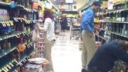Shoppers in the Washington D.C. area stock up at a grocery store ahead of Hurricane Sandy's arrival.