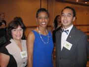 U.S. Rep. Donna Edwards (D-Md.), center, with WAWF board chair Carolyn Berkowitz and Cliff Yee, both of Capital One, at the Washington Area Women's Foundation Leadership Luncheon, held Oct. 24 at the Grand Hyatt Washington.