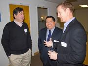 Link Locale, a new coworking and meeting room space in Clarendon, held a  grand opening reception on Jan. 15 with more than 40 Northern Virginia  entrepreneurs, local university and government officials in attendance. From left, Jonathan Aberman of Amplifier Ventures, Troy Palma of Arlington Economic Development and Stan Calvert of NeoNiche Strategies.