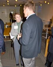 Link Locale, a new coworking and meeting room space in Clarendon, held a  grand opening reception on Jan. 15 with more than 40 Northern Virginia  entrepreneurs, local university and government officials in attendance. Libby Garvey of the Arlington County Board, left, with Stan Calvert of NeoNiche Strategies.