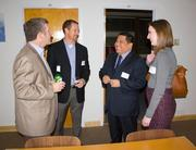 Link Locale, a new coworking and meeting room space in Clarendon, held a  grand opening reception on Jan. 15 with more than 40 Northern Virginia  entrepreneurs, local university and government officials in attendance. From left, John Hart of Imagine If, Stan Calvert of NeoNiche Strategies, Troy Palma of Arlington Economic Development and Catherine Miller of Arlington Economic Development.